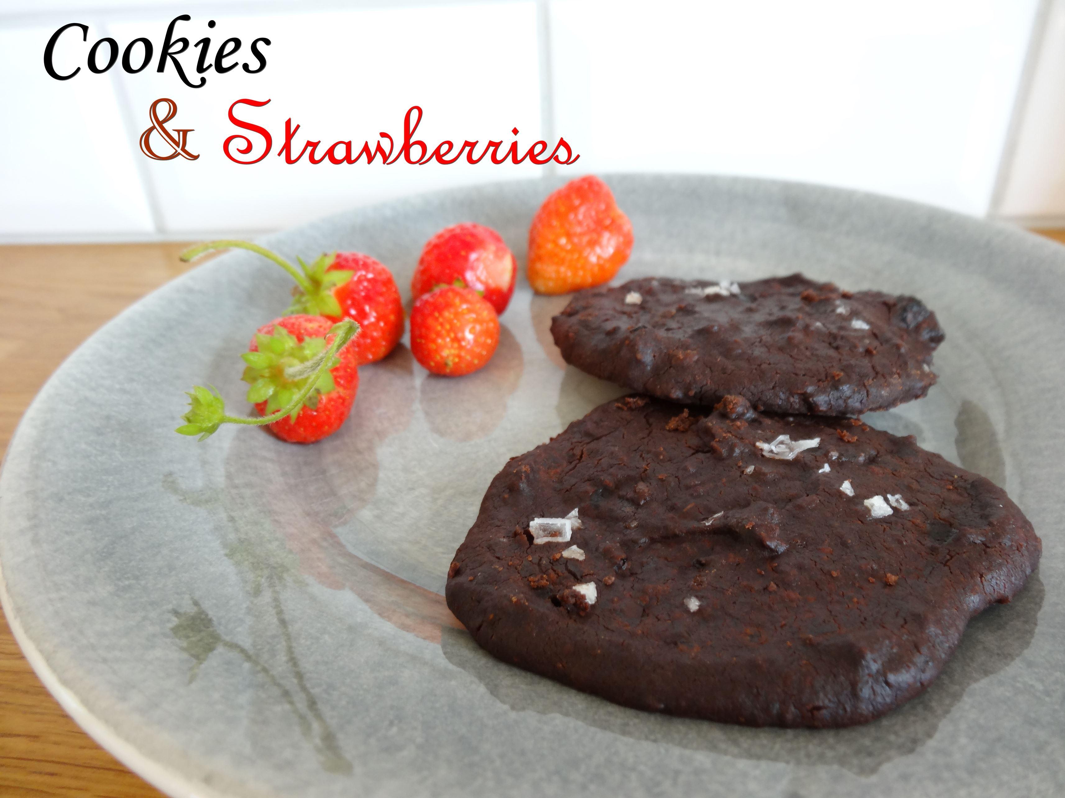 Black bean chocolate chili cookies and strawberries