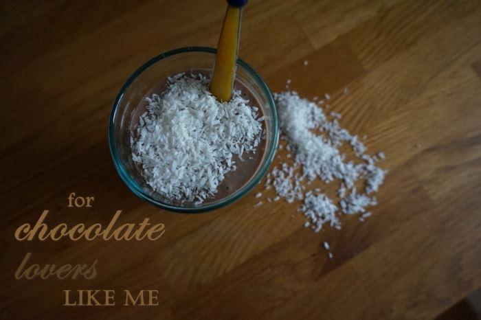 Smoothie för chokladälskare text