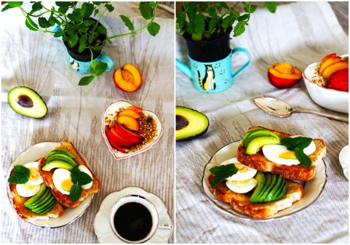 Ägg och avokadomacka till frukost
