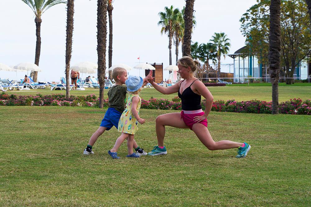 Träning med barnen på semestern
