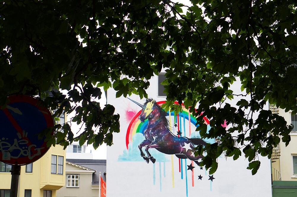 Husvägg i Reykjavik, huvudstaden på Island