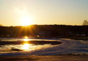 Soluppgång under morgonpromenad