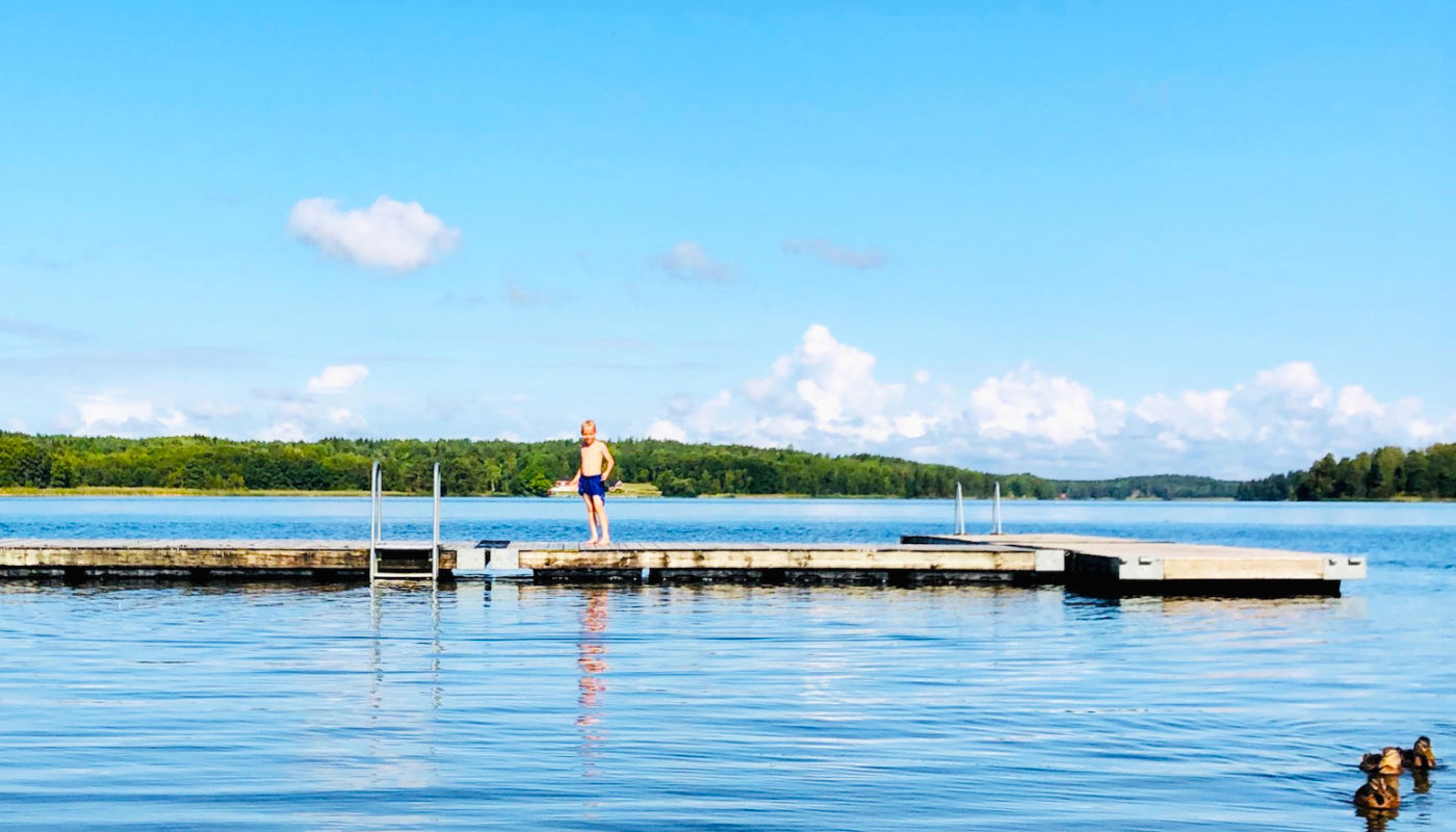 Årets sista dopp - bad i Lejondalssjön