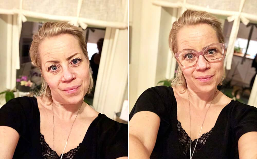 Karin Axelsson med och utan linser