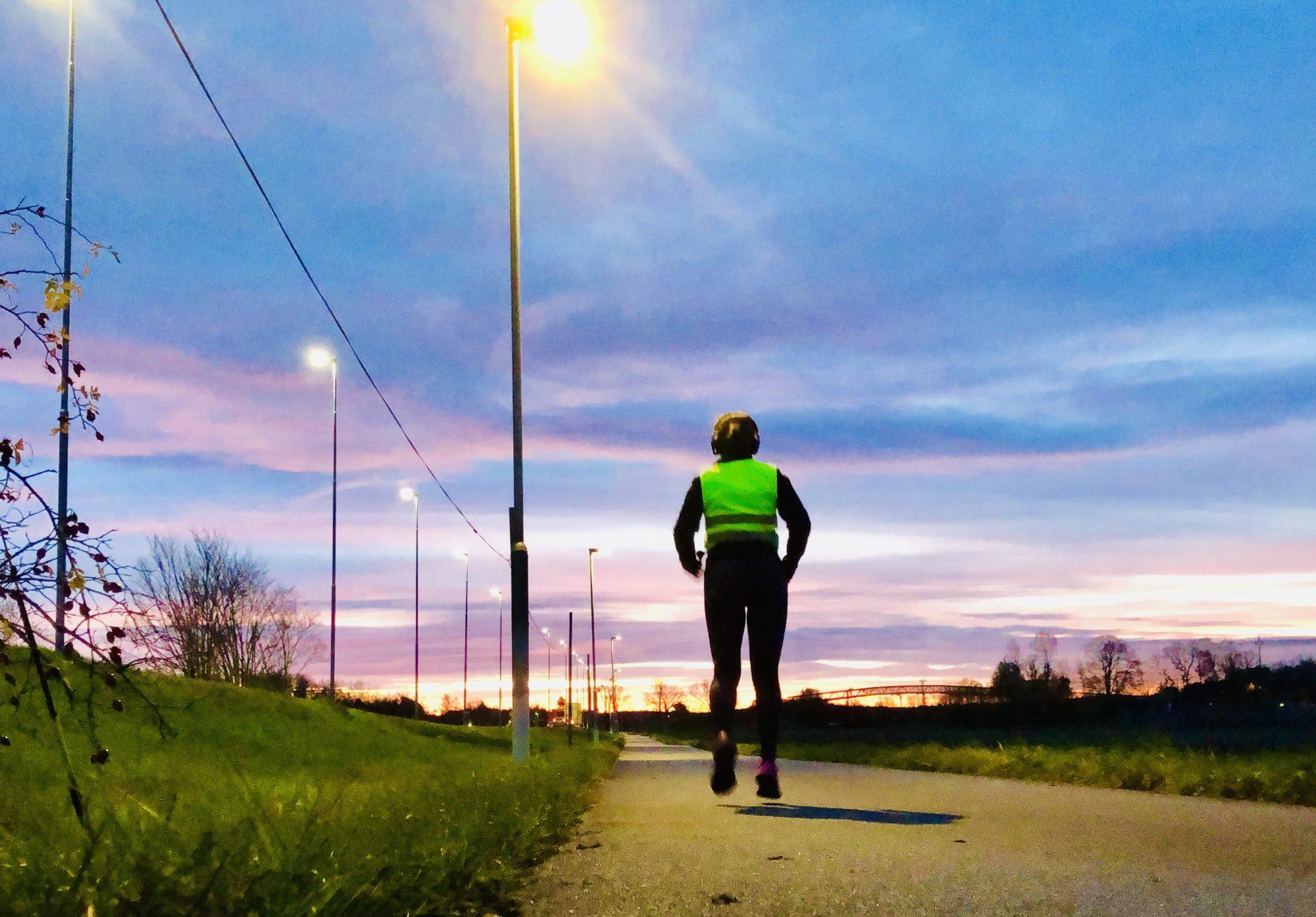 Löpning i soluppgång, november
