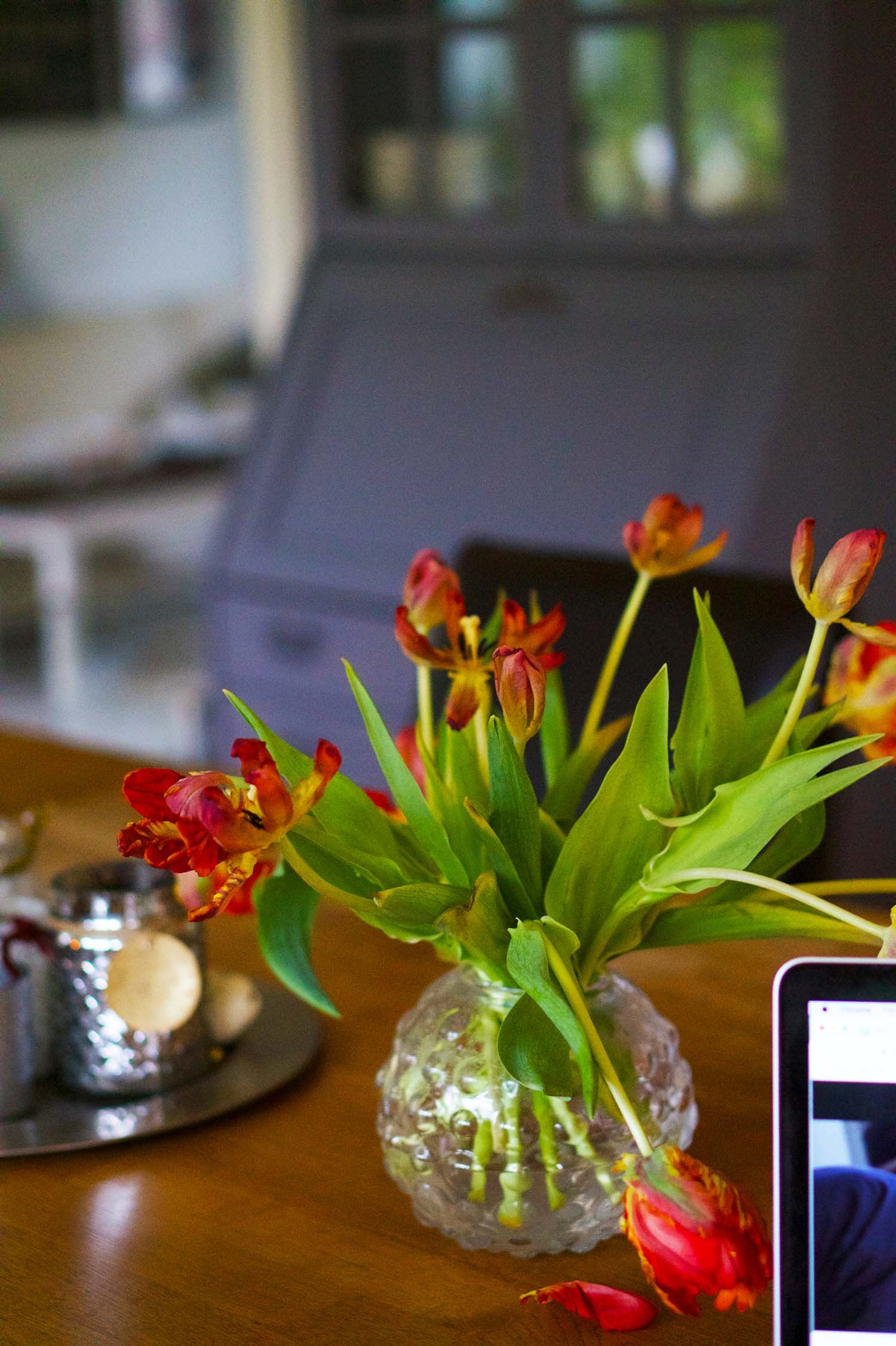 Tulpaner på hemmakontoret